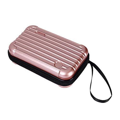 PU-Leder-Mini-Kosmetik-Verfassungs-Fall-Kulturtasche Reise-Koffer Mit Armband Beweglichem Kosmetischen Verfassungs-Fall (Rose Gold)