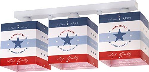 Dalber 45733 American Style Decken/Wandlampe 3-Flammige, Plastik, blau, 50 x 14 x 20.5 cm