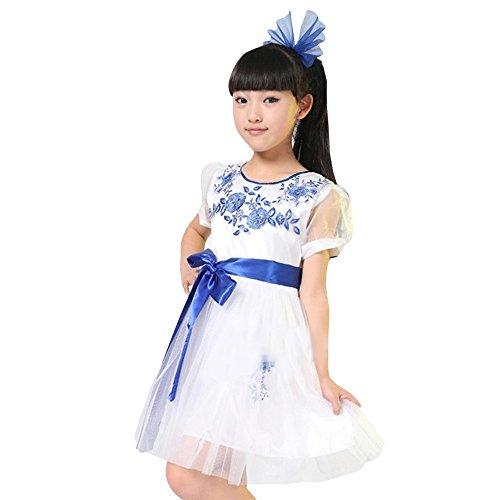 XFentech Jungen & Mädchen Chor Cheerleading Tanzen Kostüme Kinder Mode Gymnastik Auftritte Bühne Kleidung , Weiße Mädchen) , EU120=Tag130(130cm-Geeignete Höhe) (Junge Chor Kostüm)