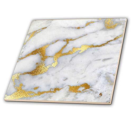 3dRose Bild von Luxus Grau Gold Gem Stein Marmor Glitzer Metallic Faux Print Dekorative Fliesen, 30,5cm Keramik, Transparent -