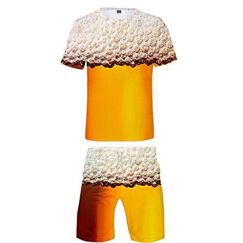 MAYOGO Oktoberfest Herren Hemd & Shorts Sets aus Polyester, 3D Druck Tshirt und Strandhose Zweiteiliger Set, Oktoberfest Kostüm Deko Anzug