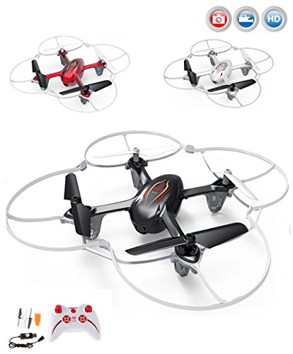 Syma X11C 4 Canal 6 Axis 2.4G RC Quadcopter With HD Camera Gyro/ Resplendent Lights 360-hearten 3D Helicopters (Syma X11C Red) by Syma