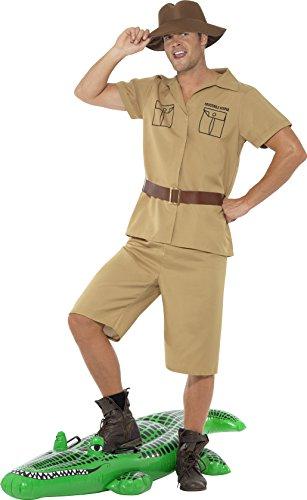 Smiffys, Herren Safari Mann Kostüm, Hemd, Shorts, Gürtel und Hut, Größe: M, (Kostüm Safari)