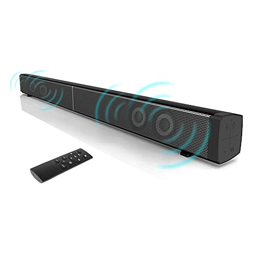 Beneray Soundbar, Heimkino Bluetooth 4.0 Lautsprecher, 2.0 Kanal, 30W mit 4 Lautsprecher, Glasfaser Verbindungsmöglichkeiten, mit Fernbedienung, Montierbar an Wänden