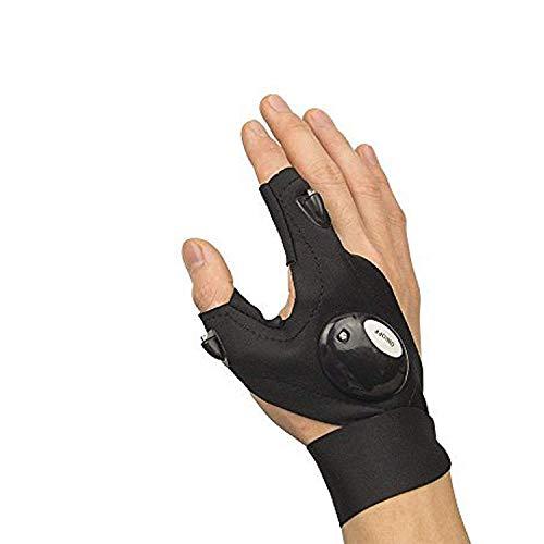 ETCBUYS LED-Taschenlampenhandschuh - Work Right Glove mit Licht und Fingerless Glove mit LED-Licht für Mechanik, Elektrotechnik, Angeln und Arbeiten bei schwachem Licht (nur Rechtshandschuh)