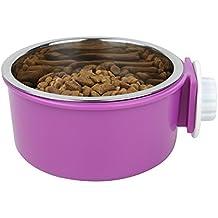 DamnCat - Cuenco de acero inoxidable con forma de gato para colgar, para comida de perro, con colgador, color morado