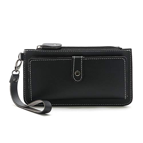 LIXIAQ1 Einfache Brieftasche mit Schlüsselband Lange Kartenhalter Reißverschluss Knopf Geldbörse Freizeit Geldbörse, Dunkelgrau - Zurück Zip Kupplung