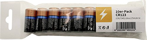 Duracell Lithium-Batterie Typ CR123, 1.400 mAh, Duralock, 10er-Pack