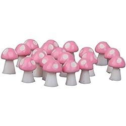 20pcs Minidollhouse Bonsai Fairy Gartenlandschaft Pilzdekor Rosa