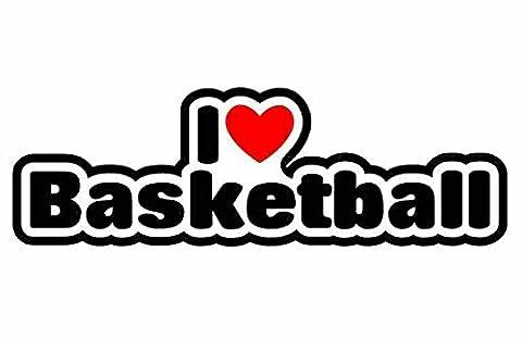 I Love Basketball - Voiture Autocollant / Sticker For Car Bike Van Camper Bumper Sign Decal