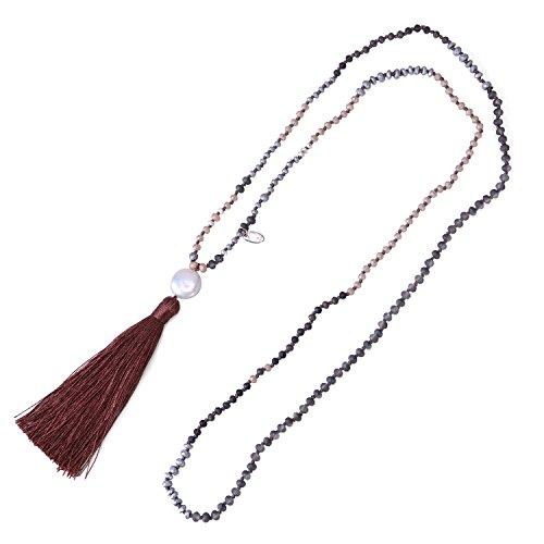 C QUAN CHI Dunkel Braun Quaste Mischen Farbe Stein Schick Halskette mit Lange Kette Quaste