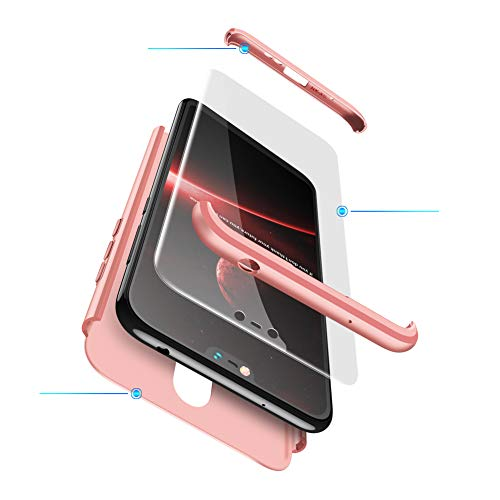 hyujia Coque Compatible Nokia 6.1-Or Rose,Étuis Nokia 6 Housses 360°Ultra Mince Cover Anti-Choc Bumper Protective Case PC Hard Shell Coque Nokia 6.1 boîtier Protège Écran en Verre Trempé-2018