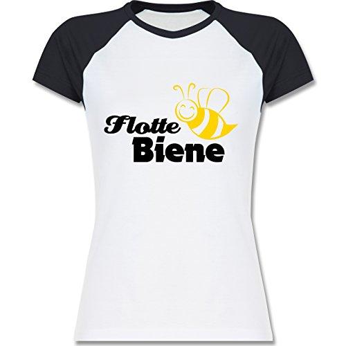 Laufsport - Flotte Biene - zweifarbiges Baseballshirt / Raglan T-Shirt für Damen Weiß/Navy Blau