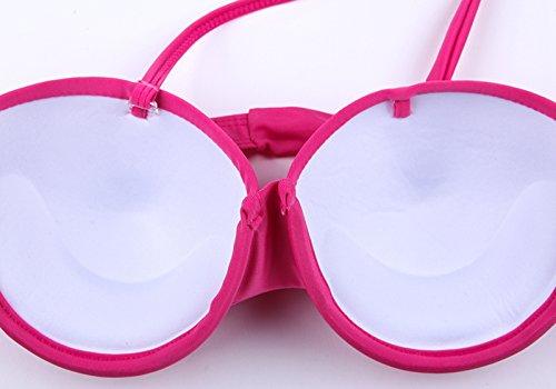 Monaseller Neckholder Push-up Bikini Suit Bademode Rosa
