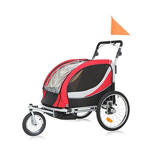 SAMAX PREMIUM Fahrradanhänger Jogger 2in1 360° drehbar Kinderanhänger Kinderfahrradanhänger Transportwagen vollgefederte Hinterachse für 2 Kinder in Rot/Grau - Silver Frame - 3