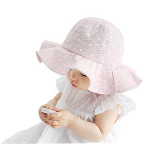 JYJM JYJM Kleinkind Kinder Sun Cap Weiß Baby Mädchen Jungen Sommer Outdoor Sonne Strand Baumwolle Hut 2018 Mode Niedlichen Kind Hut Mit Neue Mode-Design für 1-4 Jahre-alte Kinder (weiß) (Rosa, 48-50cm)