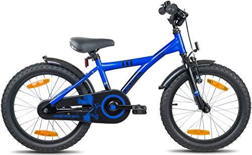 Prometheus Bicicletta per bambini e bambine dai 6 anni nei colori blu e nero da 18 pollici con freno a V in alluminio e contropedale – BMX da 18″ modello 2019 - 3