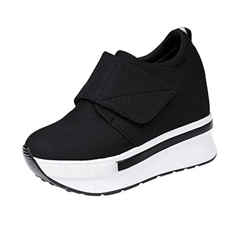 Liquidación! Covermason Mujer Moda Cuñas Botas Zapatos de plataforma Slip On Botines Moda Zapatos casuales(35 EU, Negro)