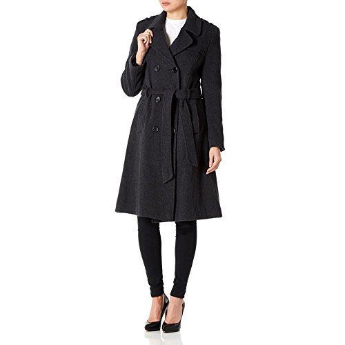 *AW13* Frauen Damen Wolle & Kaschmir Langer Warmer Mantel Mit Gürtel Im Militär Stil - 42, Dunkelgrau -