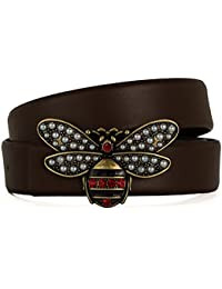 WANSGN Cinturones para Mujer Nuevos Cinturones De Cuero para Mujer De Lujo  Pequeña Abeja Hebilla Lisa Cinturón para Chica De Moda… f42b1982b933