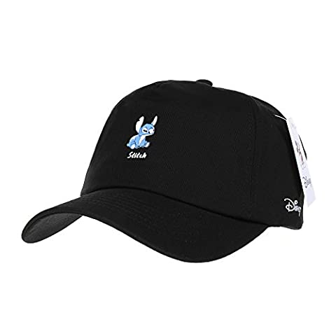 WITHMOONS Casquette de Baseball Disney Ball Cap Lilo and Stitch the Cutest Alien Hat CR1308 (Black)