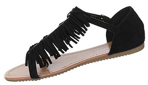 Damen Sandalen offen Riemchen Sommer Strand Schuhe Zehentrenner schwarz beige camel rosa 36 37 38 39 40 41 Schwarz Z7bUt