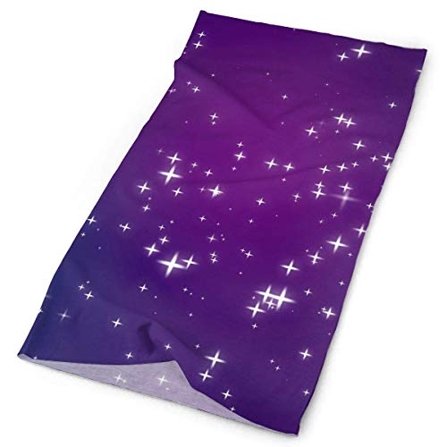 Tonesum Sparkly Purple Blue Pink Night Sky Full of Stars Original Headband with Multi-Function Sports and Leisure Headwear UV Protection Sports Neck, Sweat-Absorbent Microfiber Running, Yoga, Hiking