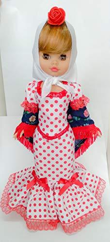 Folk Artesanía Muñeca Sintra 42 cm colección Madrileña o Chulapa, Nueva y Original, Similar Nancy (Blanco Lunar Rojo)