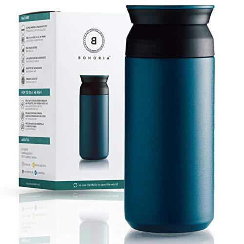BOHORIA® Premium Edelstahl Kaffee-to-Go-Becher - Isolierbecher - Thermo-Becher - Doppelwandig & Vakuumisoliert - 360 ml - Reise-Becher Kaffee und Tee zum Mitnehmen - Autobecher Travel Mug (Teal)