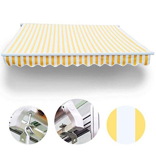 Wohnstyle24 350 x 300 Gelenkarmmarkise Markise Gelb/Weiß mit Handkurbel Sonnenschutz Sichtschutz