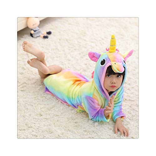 Children's Nightgown Flannel Cartoon Animal Shape Cosplay Boy Child Girl Bathrobe Baby Pajamas Home Service Halloween Party Gift 01 5T (Movie Silent Halloween-kostüm)