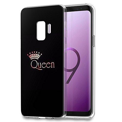 YOEDGE Samsung Galaxy S9 Plus Hülle, Ultra Dünn Schutzhülle Silikon Schwarz mit Muster Queen King Krone Motiv Design Weich TPU Handyhülle 360 Bumper Cover für Samsung Galaxy S9 Plus Phone (3Queen)