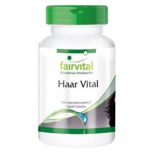 Haar Vitamine Tabletten - Haar Vital - HOCHDOSIERT - 60 Tabletten - mit Vitaminen, Spurenelementen, Bierhefe und Sojaprotein -