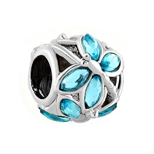New Style Blau Swarovski-Kristall Engelsflügel Charm-Perle für Pandora-Armband, Sale