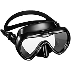 OMORC Masque de Plongée Kit de Plongée en Silicone Imperméable Verre Trempé, Kit de Randonnée Aquatique Antibuée et Anti-Fuite avec Une Vision à 180 Degrés - Noir