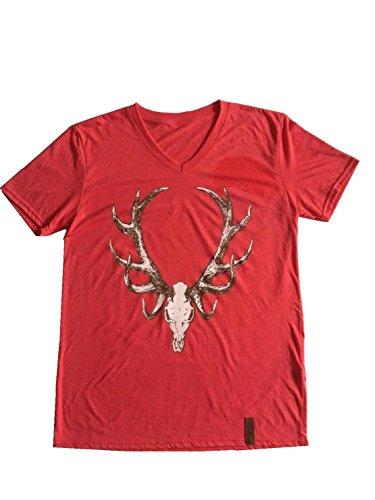 Heimatkuss Herren T-Shirt, Trachten-T-Shirt, Rot, Kontrast Hirschkopf (L)