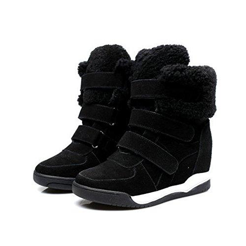 Damen Stiefeln Wildleder Kurzschaft Keilabsatz Aufzug Winter Schneestiefeln Schwarz