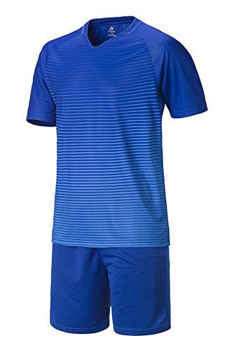 BOZEVON Herren Jungen Sportbekleidung Fußball Kit Kleidung Hemd & Shorts Set Trainingsanzug Wettbewerb Teamtrikots, Blau, EU 23=Tag 24, Höhe:130cm