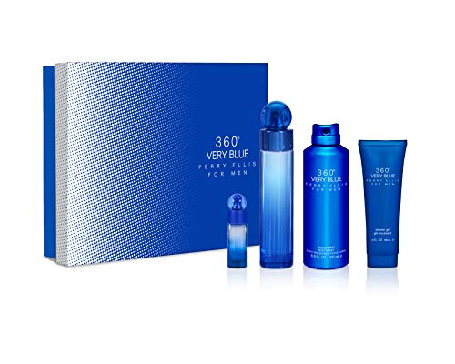 Perry Ellis 360 Very Blue by Perry Ellis Gift Set - 3.4 oz Eau De Toilette Spray + .25 oz Mini EDT Spray + 3 oz Shower Gel + 6.8 oz Body Spray / - (Men) - Perry Ellis Edt 3.4