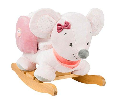 Nattou Schaukeltier ab 1 Jahr mit Gurt, Mädchen, rosa - Valentine die Maus