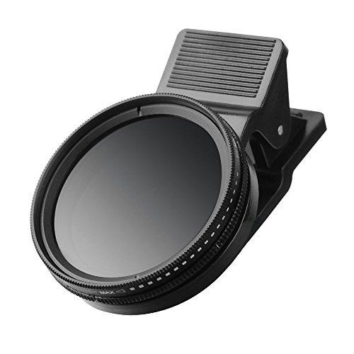 Speed Filter (ZOMEI Einstellbare Neutral-Dichte Clip-On ND 2-400 Objektiv-Filter mit Clip für iPhone 6S, 6S Plus, Samsung Galaxy und Android Smartphones (ND2-ND400 ND-Filter))