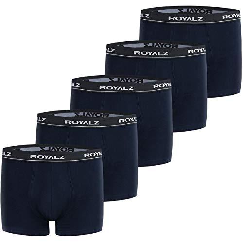 ROYALZ Boxershorts 5er Pack Herren Boxer Retro Shorts Unterhosen Set Trunk Unterwäsche klassisch (95% Baumwolle 5% Elasthan), Größe:M, Farbe:Dunkelblau -