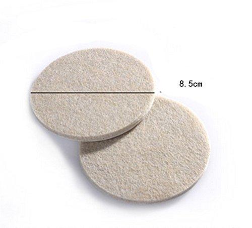 Preisvergleich Produktbild 2PCS Round 8.5cm Premium Möbel Pads - 5 mm Dicke selbstklebend Faser Filzen strapazierfähigen Filz Pads für Möbel und Boden, beige