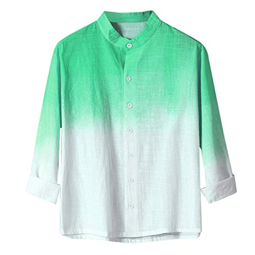 Zolimx Herren Leinen Shirt T-Shirt Hemd Farbverlauf Kurzarm, Cooles dünnes atmungsaktives gefärbtes Baumwollhemd für Männer -
