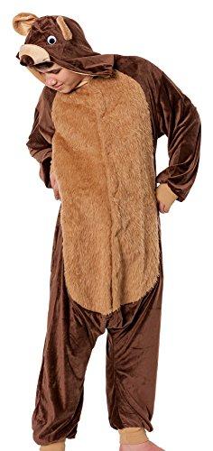 (R-Dessous Bären Kostüm Herren Teddy Bär Tier Jumpsuits Overall Bärenkostüm Verkleidung Karneval Halloween Groesse: S/M)