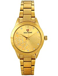 Swiss Grand SG-1172 Golden Coloured With Gold Stainless Steel Strap Analog Quartz Watch For Women