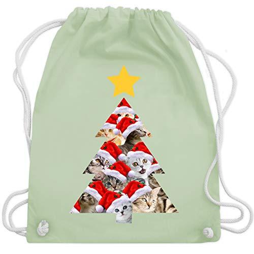 Weihnachten & Silvester - Katzenbaum - Unisize - Pastell Grün - WM110 - Turnbeutel & Gym Bag (Jungs Pullover Weihnachten Hässlich)