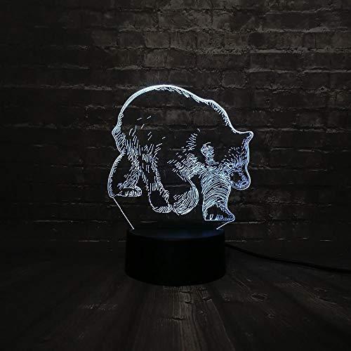 3D Nachtlicht 3D Led Nachtlicht Tier Schwarzer Bär Lampe Schlaf Licht 7 Farbwechsel Weihnachtsgeschenk Basis Batterielampen Für Kinder Illusion -