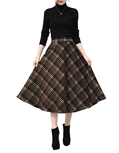 Tribear Damen Vintage Winter Herbst tartan mit hoher Taille flared röcke knielange Kleider (3XL/EU 42, Kaffee) -