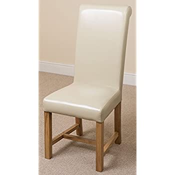 Oak Furniture King X4 Washington Braced Leather Dining Room Kitchen Chairs (47 W x 61 D x 109 H cm) Ivory